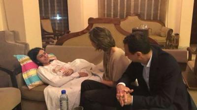 الرئيس الأسد وعقيلته في زيارة عائلية لكريستين
